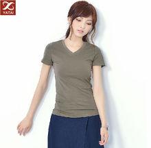 china factory wholesale women's cotton v-neck t shirt