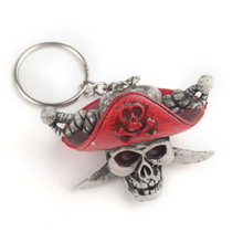 S07120 Acrylic Halloween Skull Head with hat Shape charm decorated Festival keychain Key rings.Metal Skeleton Key holders.
