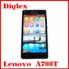 Wholesale Original Lenovo A708T Quad Core MTK6582 Android 4.2 Smart Phone 5.5 inch 1GB RAM 8GB ROM 5MP Dual Sim Card GSM Phone