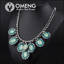 European Fashion Brand Four Leaf Shape Crystal Elements Necklace Jewelry
