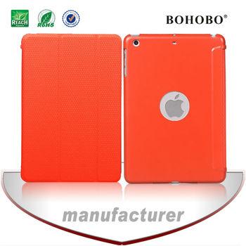 BOHOBO For Ipad mini 2,gridding grain rubber finishing Flip PU leather PC case