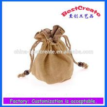 Hot sale fashion mini drawstring jute bags wholesale for tea and coffee