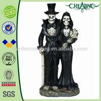 "15"" Med. Grim Reaper Couple Ghost Statue Figure Decoration"