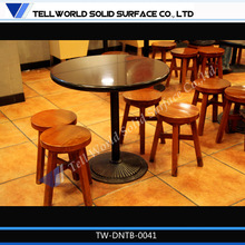 Solid surface bright and neutral restaurant table