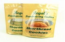 Short bread cookies foil stand up plastic ziplock bags