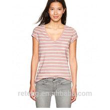 fashion laides stripe v-neck t shirt