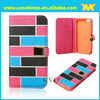 Contrast brick leather universal smart phone wallet style leather case