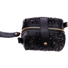 shiny black zipper leather change coin purse coin bag with wrist band
