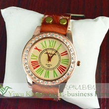 2014 New products colorful roman number dial genuine leather crystal watch!! Hot quartz genuine leather crystal watch lady!!