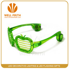 """""""Apple"""" shaped funny flashing sunglasses, green lighting led sunglasses for party"""