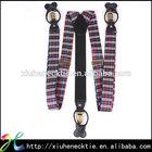 Fashion Mens New Genuine Leather Fabric Plaid Pattern Suspender