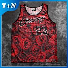 Hot sale OEM sublimation printed men basketball jersey sleeveless garment