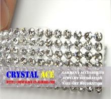120cmX45cm hot-fix diamond mesh Silver crystal