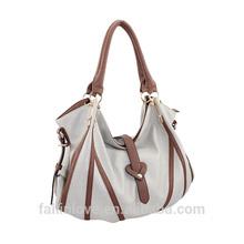 fashion women tote bag contrast stripe design PU handbags China,leather handbag for ladies