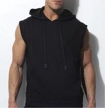 2014 latest blank mens sleeveless hoodie