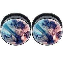 Graphic Picture Plugs Gauges Screw UV Acrylic Body Jewelry Ear Tunnel Piercing