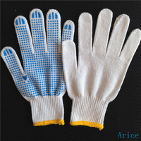 pvc dotted cotton knitted work glovecotton dots work gloves,china supplier
