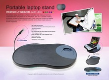 2014 newest comfortable laptop cushion tray on the legs with 3 LED lights and a cup holder