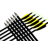outdoor sporting bow hunting fibrglass target arrows 31'' with 2 yellow 1 black arrow feather