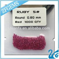 Wuzhou wholesale 0.8MM Round Brilliant Cut burma stone ruby