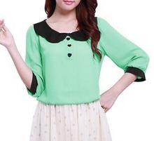 Mujeres verde menta collar de la muñeca 3/4 del corazón de la manga botón decoración forro de modelo de la gasa de la blusa