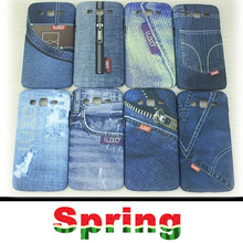 2014 New Arrival Leather surface West Cowboy Cloth Case Jeans Painted Plastic Back cover case for Samsung Grand 2 G7106