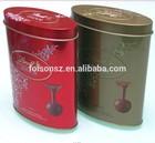 oval shape food storage metal tin box chocolate tin can