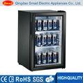 Single- temperatura estilo mini frigobar portas de vidro