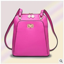 2014 new fashional preppy style multifunctional female double strap bag
