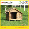 Brown pointed roof house type pet cage for dogs