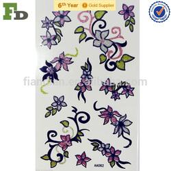 Tattoos Temporary Body Sticker Purple Lined Art Flowers Kids Decor Fun Crafts