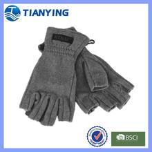 mens grey woven label five fingerless polar fleece gloves