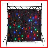 HOT WLK-1F Black fireproof Velvet cloth four leds star backdrop curtains background light