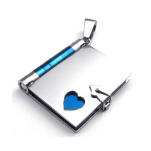 316l Stainless Steel Blue Plated Book Design Friendship Pendant