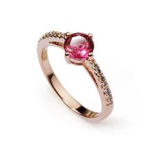 Unique design Wholesale fashion jewelry red wedding zircon ring for women