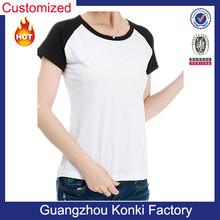 women 2color contrast short sleeve blank wholesale raglan t shirt