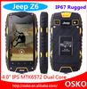 Jeep Z6 phone ip68 waterproof phone 3G GPS 4 inch Screen mtk6572 Dual Core 1.2GHZ 512MB 4GB 5MP dustproof Shockproof