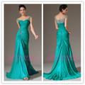 De haute qualité à bas prix décent glamour 2014 vert, cap manches en mousseline de soie gaine ruchés de bal perlée formelle robe de soirée design italien