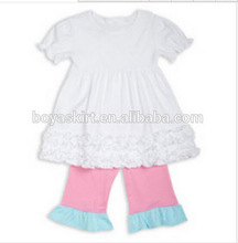 wholesale 2014 children summer outfits kids solid cotton blouse tops +stripes short pants 2 piece ruffle baby party outfit