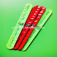 Customize colorful reflective pvc silicone slap bracelet for promotion