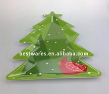 Melamine Christmas Tree Shape Plate