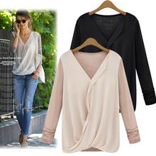 Women's Stitching Knitted Loose Chiffon Tops Long Sleeve Shirt 2014 fashion design modern blouse SV004749