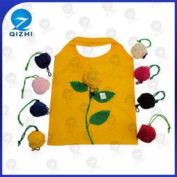 fashion polyester rose flower folding shopping bag