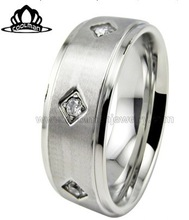 2014 high polish simple stainless steel ring with cz