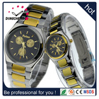 Newest design fake three-eyes face gold color vogue couple's watch