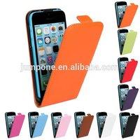new plain Genuine leather flip cover Case For iPhone 5c mini