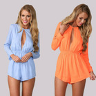 Women sexy O-neck front open summer dress,party cub dress blue orange JH-DR-708