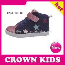 High cut Buckle strap Glitter Canvas Kids Children casual shoes