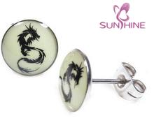 Pair Stainless Steel Glow In The Dark Dragon Post Stud Earrings