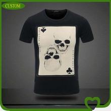 Hot sales custom cotton leisure 2014 men tshirt , double skull printing tshirt